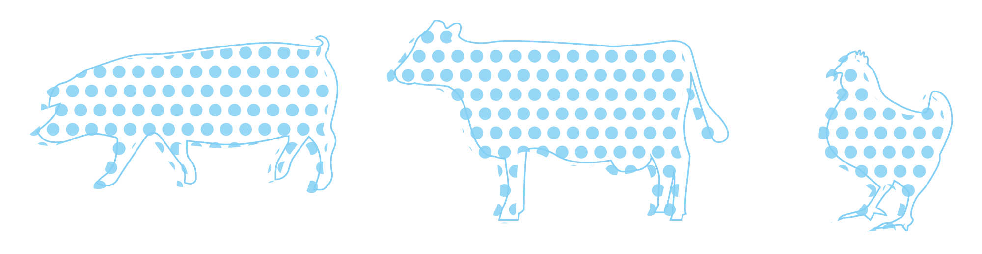 animal shapes made from blue dots