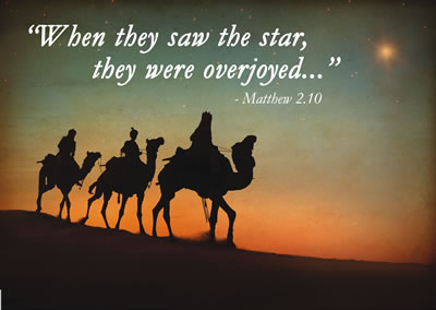 "Image of the 3 wise men with the Scripture ""When they saw the star, they were overjoyed"" from Matthew chapter 2 verse 10."