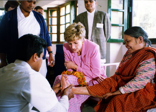 Princess Diana on hospital visit