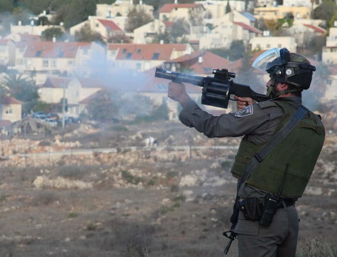 An Israeli soldier fires a grenade from a launcher. Credit: War on Want / Rich Wiles