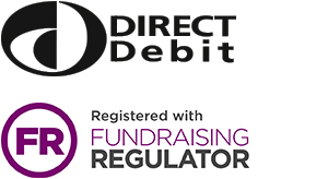 Direct Debit logo. Registered with Fundraising Regulator
