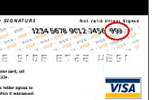The CVV2 is shown as 3 digits after the credit card number on the back of the card.