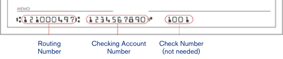 Image of Example Account Numbers on a Check