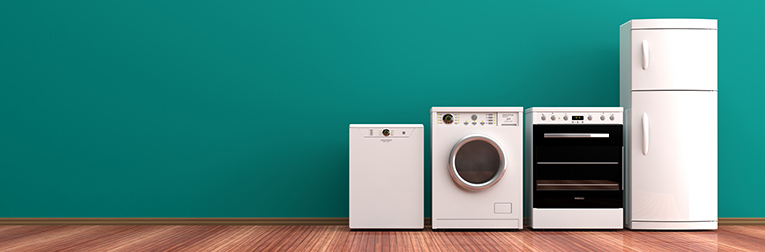 Household appliances against a green background.
