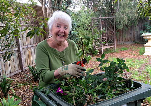 Elderly woman gardening - renting campaign case study