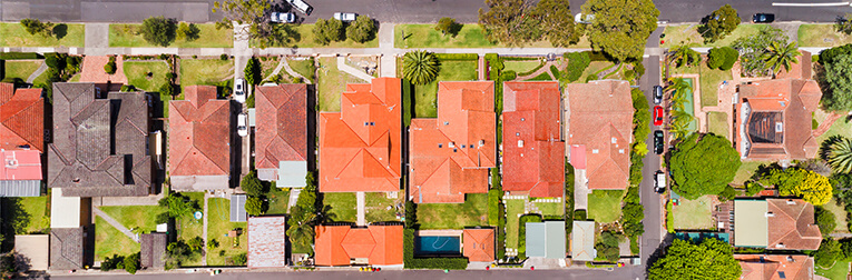 Aerial shot of homes in Sydney, Australia.