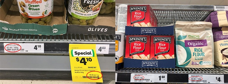 Examples of unit pricing in supermarkets.