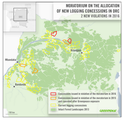MAP_Moratorium on the allocation of new logging concessions in the DRC