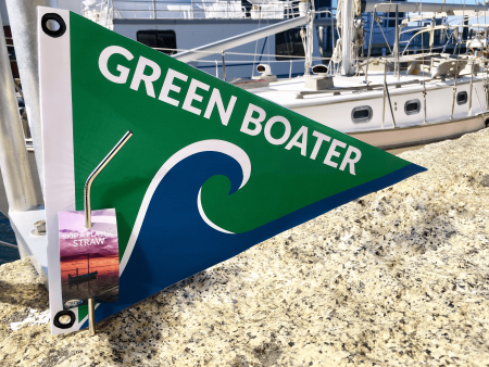 Green Boater burgee and Sailors for the Sea stainless steel straw