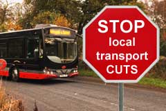 Country bus and road sign Stop local transport cuts