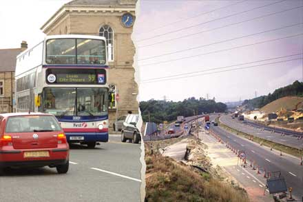 Roads being built, local bus services