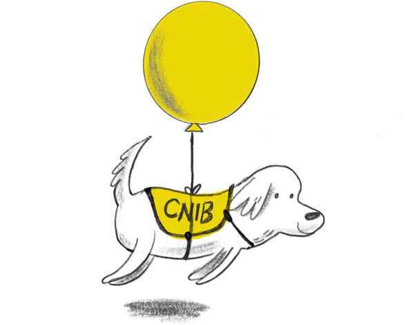 A drawing of a happy dog with a yellow ballon tied around it
