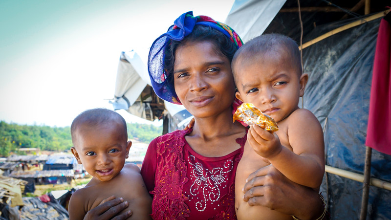 Refugees in Jamtoli camp, Bangladesh