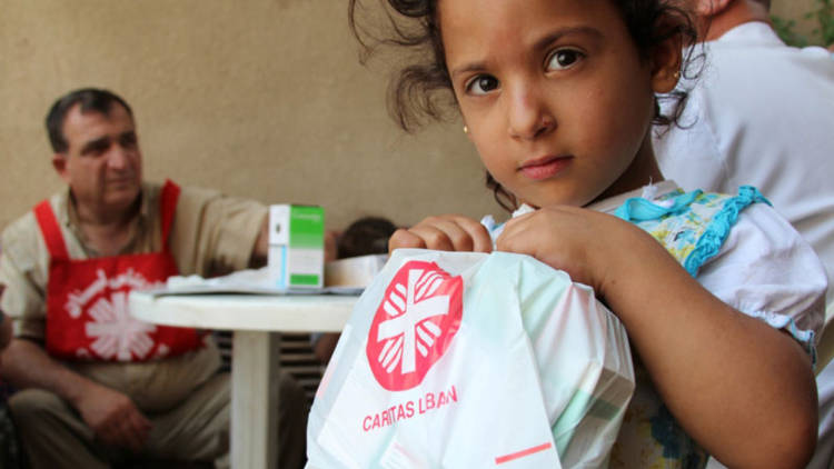 A girl received aid from CAFOD partner Caritas Lebanon