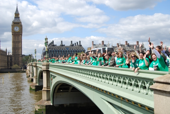 Campaigners on Westminster Bridge